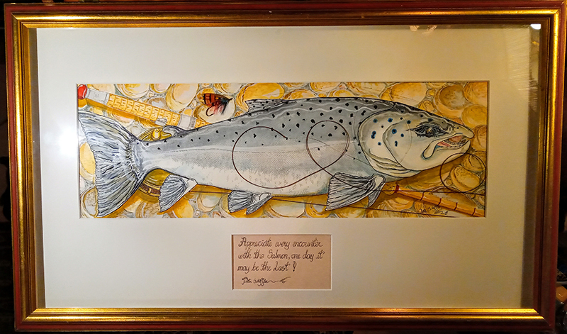 Fish & Fly watercolour painting by Peter Scheffler at the Virtual Irish Fly Fair 2020